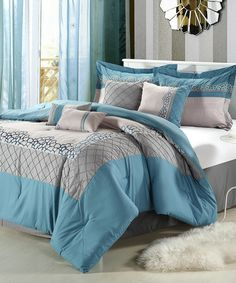 Loving this Blue Mustang Embroidered Comforter Set on #zulily! #zulilyfinds