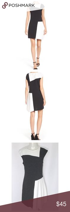 "Charles Henry Color Block Shift Dress Asymmetrical color block dress.  Black and ivory.  Measures 17.5"" across the armpits, 33"" length on the shorter side.  95% polyester 5% spandex.  Comfortable stretch.  Slips over the head, hidden side zip, cap sleeves, partially lined.  Adapts well from day to night.  Dry clean.  No trades. Charles Henry Dresses Mini"