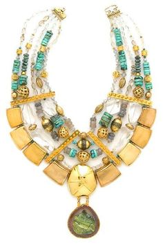 Tony Duquette (American, 1914-1999), 'Celebrates the Goddess of Rain', 1990s. A turquoise, clear quartz, agate bead, agate slice, green hardstone and vermeil necklace.