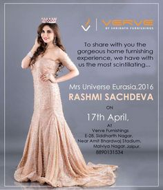 Put in an appearance today at Verve Furnishings to have a glimpse of Mrs Universe Eurasia, Rashmi Sachdeva  It is your space, your personal sanctuary. It reflects your tastes and interests. When you decorate, you personalize your space. And we're here to help you set it up. Address: E-28, Near Amit Bhardwaj Stadium, Opp Reliance Fresh, Malviya Nagar, Jaipur Wireless: +91-9414203400 #verve #furnishings #mrs #universe #rashmi #sachdeva #home #Decor #products #carpets #Flooring, #Mattresses…