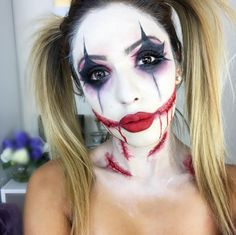 If you'd rather be the joker, try these black diamond eyes, a bright red pout, and movie-like slashes. Makeup by @makeupbyjh - MarieClaire.com