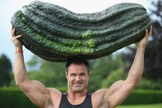 Weightlifter Jonathan Walker lifts a giant green marrow weighing 119 lbs., 12 oz. over his head at the Great Yorkshire Showground in England.