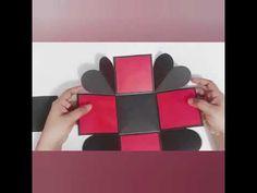 Explosion box basic tutorial for beginners. Diy Gift Box, Diy Box, Diy Surprise Box, Explosion Box Tutorial, Exploding Gift Box, Handmade Crafts, Diy Crafts, Popular Crafts, Valentines Diy