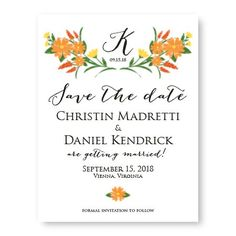 Floral Monogram Save The Date Cards