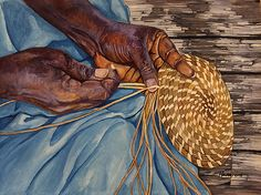 """""""She Weaves Sweetgrass Baskets"""" by Hanni  #artwork #watercolor #painting"""