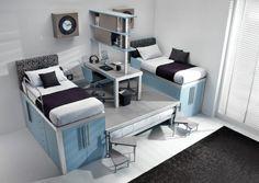 idée déco pour chambre de garçons : des lits surélevés avec meubles de rangement