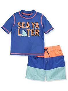 Sz 18 Months NEW Wave Zone Boys Blue Shark Swim Suit Rash Guard Shirt SPF 50 nwt