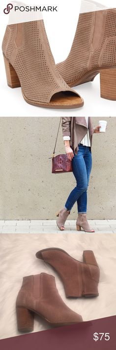 TOMS Majorca Taupe/Tan peep toe booties TOMS Shoes Ankle Boots & Booties