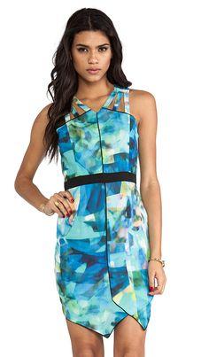 Blue digital watercolor print dress