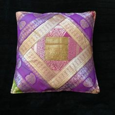"New Indian unique colourful sari silk cushion covers 16"" 40cm pillow case UK 