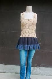 Image result for repurposed tank top with laxe at bottom wore under gray sweater
