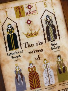 Pattern dedicated to the six wives of King Henry VIII.Each dress is the replica of an original one, owned by one of the queens.