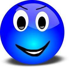 Free 3d Grinning Blue Smiley Face Clipart Illustration by Picsburg