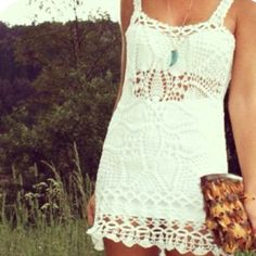 Such a cute idea - lace or crochet swimsuit cover-up made everyday appropriate with a skirt & bandeau bra underneath (: