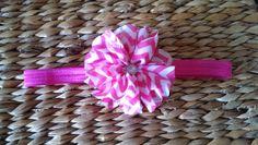 chevron pink and white chiffon headband with by BriannaSophiaBows, $7.00