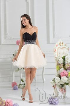 Princess Sweetheart Stretch Satin Organza Short/Mini Length Homecoming Dress