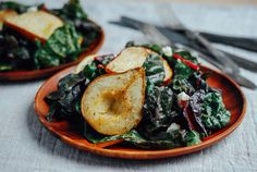 Uncooperative pears are roasted into submission, placed on a bed of tender rainbow chard, and topped with creamy chèvre and a lemony vinaigrette.