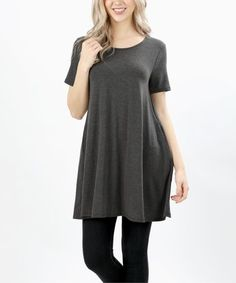 Another great find on #zulily! Charcoal Pocket Swing Tunic - Women & Plus by Zenana #zulilyfinds