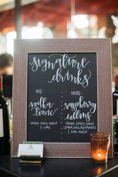 Want to design a wedding drink station guests will love? I've rounded up some of my favorite wedding drink. Wedding Signature Drinks, Signature Cocktail, Signature Drink Signs, Cocktail Wedding Reception, Drink Bar, Drink Menu, Chalkboard Wedding, Wedding Signage, Chalkboard Bar