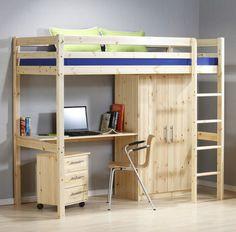Детская кровать-чердак со шкафом и столом