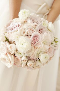 Blush Pink Roses | Bouquet | On SMP:   http://www.StyleMePretty.com/new-england-weddings/2013/01/22/newport-wedding-at-belle-mer-from-adeline-grace/ Photography: Adeline & Grace