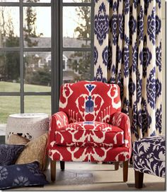 COTE DE TEXAS: Fabric Searching on the Cheap - examples of this fabric in situ.  Yes, I am officially obsessed!