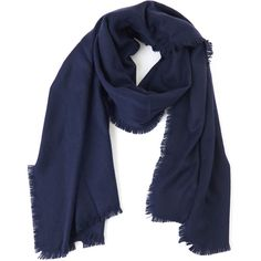 Tibi Navy Fringe Scarf ($175) ❤ liked on Polyvore featuring accessories, scarves, blue, fringe shawl, tibi, fringe scarves, blue scarves and blue shawl