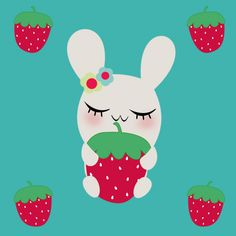 """Strawberry Pattern © PoemCottage Motiv: """"Hase & Erdbeere by Poem Cottage"""" (#66516)   