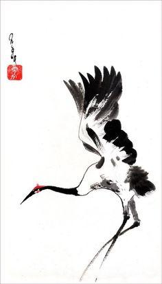 , 'Landing Crane' Photographic Print by Origa , Sumi-e inspired wall art! Japanese Ink Painting, Sumi E Painting, Chinese Painting Flowers, Vogel Illustration, Botanical Illustration, Crane Tattoo, Art Asiatique, Tinta China, Art Japonais