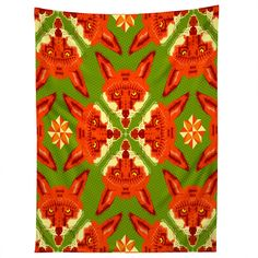 Chobopop Geometric Fox Tapestry | DENY Designs Home Accessories