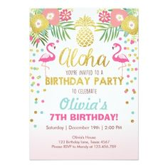 89 best birthday kids party invitations you can buy online images on flamingo party invitation tropical birthday luau filmwisefo