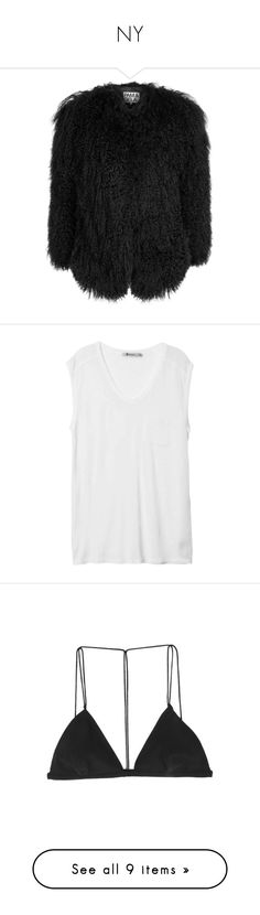 """""""NY"""" by llsbo ❤ liked on Polyvore featuring outerwear, jackets, shearling jacket, tops, shirts, t-shirts, tank tops, white, muscle tee shirts and pocket tank top"""