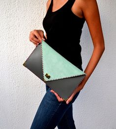Handmade leather clutch / Pistachio suede and grey by AnaKoutsi, $98.00