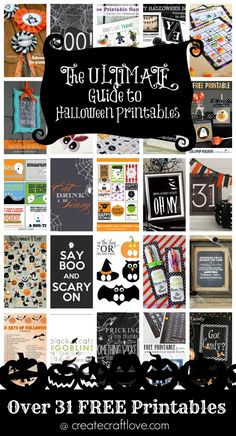 The ULTIMATE Guide to Halloween Printables - over 31 FREE printables. Perfect for a DIY craft project or easy ideas for Halloween decorations! Halloween 2014, Halloween Birthday, Holidays Halloween, Spooky Halloween, Halloween Treats, Happy Halloween, Halloween Decorations, Halloween Bunting, Halloween Designs