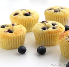 Blueberry and Lemon Cupcakes Blueberry Cupcakes, Lemon Blueberry Muffins, Lemon Cupcakes, Mini Cupcakes, Muffin Top, Berries, Dishes, Baking, Breakfast