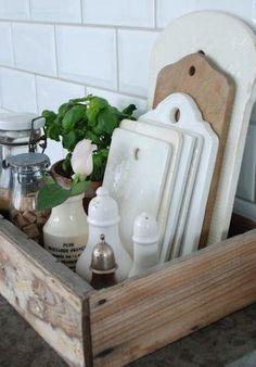 Kitchen Caddy, Kitchen Tray, Rustic Kitchen Island, Country Farmhouse Decor, Farmhouse Kitchen Decor, Rustic Decor, Kitchen Items, Farmhouse Cabinets, Primitive Country