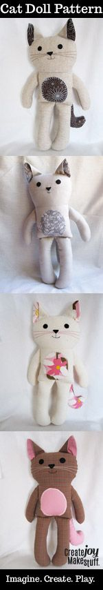 "13"" cat doll sewing pattern - one pattern: endless variety of friends - CreateJoyMakeStuff - https://www.etsy.com/ca/listing/195941931"