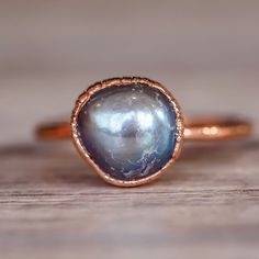 Natural Black Pearl and Copper Ring - www.indieandharper.com