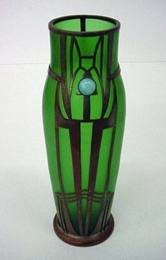 Vase 1900-1920, probably Austria, glass/copper | Corning Museum of Glass