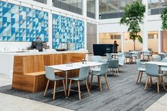 Wood fibre textures and natural sound absorption has helped to make these areas calm spaces – perfect for lunch or light conversation before a meeting.