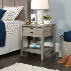 Cottage Road Night Stand in Mystic Oak - Sauder 423328 Book Storage, Storage Drawers, Storage Spaces, Smart Storage, Pine Nightstand, Bedside, Nightstand Ideas, Side Tables Bedroom, End Tables With Storage