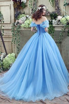 Wholesale price- Cinderella Dress Blue Organza Tulle Off the Shoulder Ball Gown Dress with Chapel Train, contact whatsapp+86 18013523831