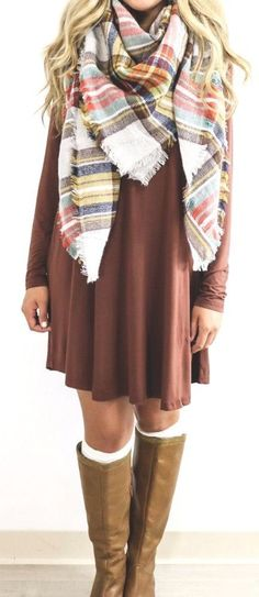 #fall #fashion / tartan scarf + dress