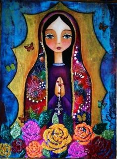 Our Lady of Guadalupe Religious Icons, Religious Art, Immaculée Conception, Mama Mary, Blessed Mother Mary, Madonna And Child, Catholic Art, Mexican Folk Art, Angel Art