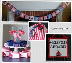 Nautical Happy Birthday Package, Anchor Candy Cups, Sailboat Food Labels, Happy Birthday Banner, Straws, Door Sign, Favor Bags