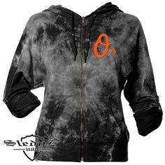 Baltimore Orioles Women's Crystal Wash French Terry Full-Zip Hoodie by Sledge USA