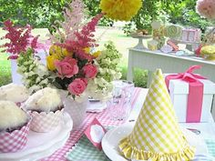 From Kate Landers Events...inspiration for your garden and flower themed classroom.  I LOVE gingham!