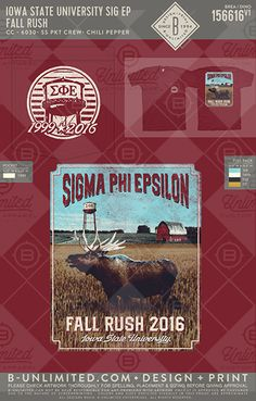 Iowa State University Sig Ep #BUnlimited #BUonYOU #CustomGreekApparel #GreekTShirts #Fraternity #Sorority #GreekLife #TShirts #Tanks #SigmaPhiEpsilon #SigEp #Moose #Rush #Field #Farm #FallRush #Recruitment #BidDay #WaterTower
