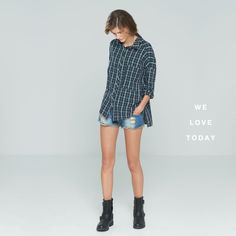 Checked shirt matched with ripped denim shorts. Now available in stores and at okeysi.com