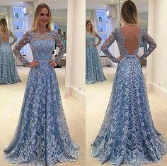 Completo azul de la vendimia del cordón de una línea de vestidos de baile 2016 de manga larga Bateau vestidos sin espalda cuello Appliques del cordón del partido de tarde del tren del barrido